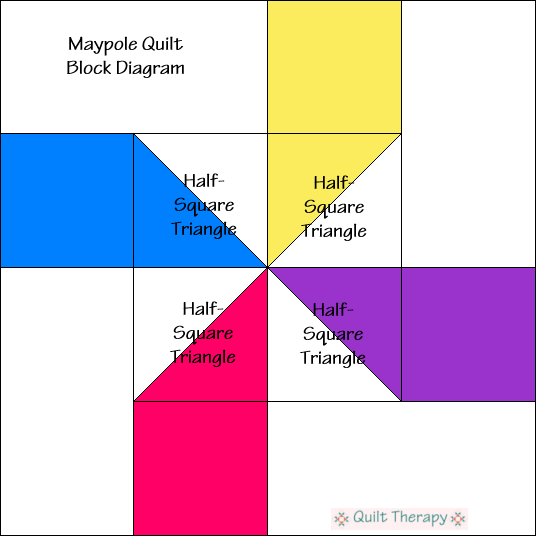 """Maypole Quilt Block Diagram is a Free Pattern for 12"""" finished quilt block at QuiltTherapy.com!"""