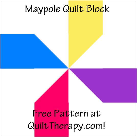 """Maypole Quilt Block is a Free Pattern for a 12"""" quilt block at QuiltTherapy.com!"""
