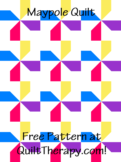 """Maypole Quilt is a Free Pattern for a 36"""" x 48"""" quilt at QuiltTherapy.com!"""