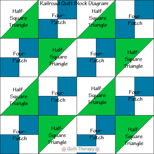 """Railroad Quilt Block Diagram is a Free Pattern for 12"""" finished quilt block at QuiltTherapy.com!"""