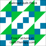 """Railroad Quilt Block is a Free Pattern for a 12"""" quilt block at QuiltTherapy.com!"""