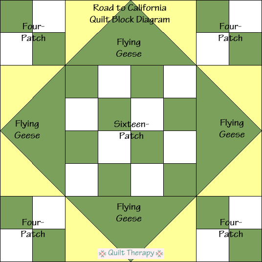 """Road to California Quilt Block Diagram is a Free Pattern for 12"""" finished quilt block at QuiltTherapy.com!"""