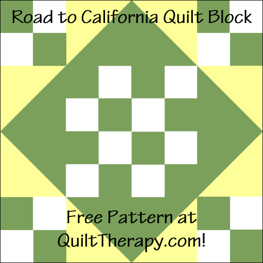 """Road to California Quilt Block is a Free Pattern for a 12"""" quilt block at QuiltTherapy.com!"""