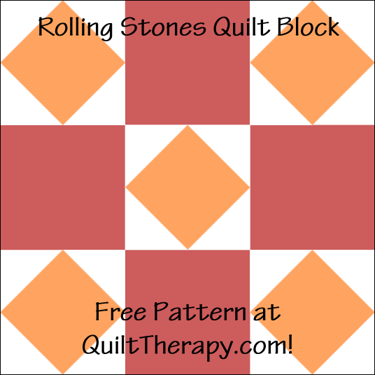 """Rolling Stones Quilt Block is a Free Pattern for a 12"""" quilt block at QuiltTherapy.com!"""