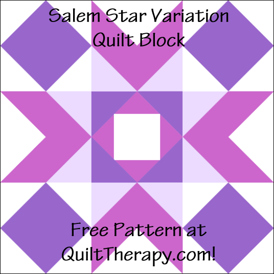 """Salem Star Variation Quilt Block a Free Pattern for a 12"""" quilt block at QuiltTherapy.com!"""