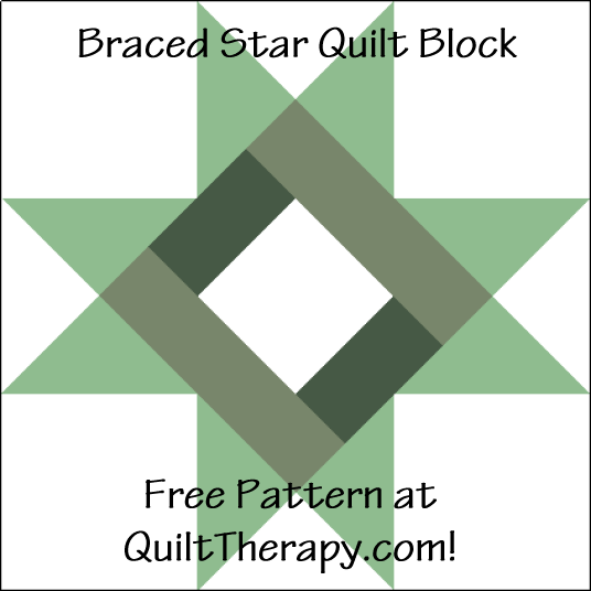 """Braced Star Quilt Block is a Free Pattern for a 12"""" quilt block at QuiltTherapy.com!"""