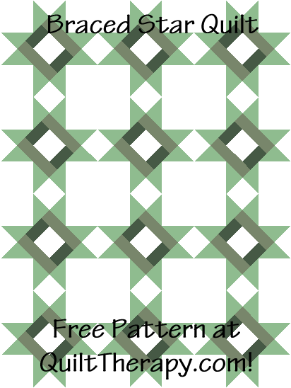 """Braced Star Quilt is a Free Pattern for a 36"""" x 48"""" quilt at QuiltTherapy.com!"""