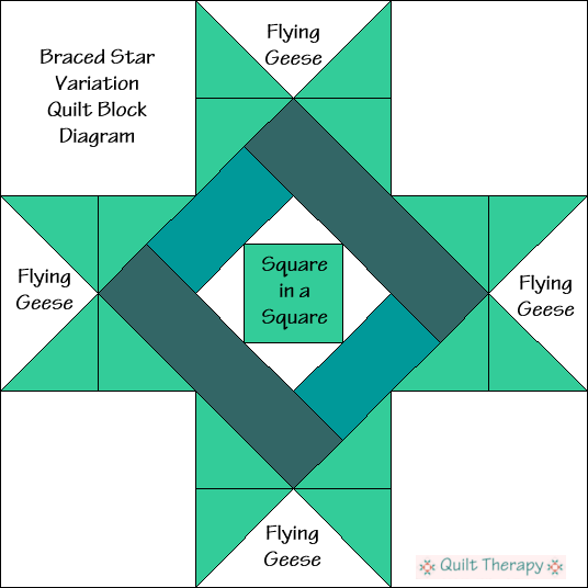 """Braced Star Variation Quilt Block Diagram is a Free Pattern for 12"""" finished quilt block at QuiltTherapy.com!"""