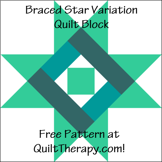 """Braced Star Variation Quilt Block is a Free Pattern for a 12"""" quilt block at QuiltTherapy.com!"""