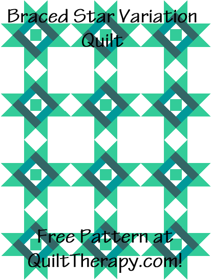 """Braced Star Variation Quilt is a Free Pattern for a 36"""" x 48"""" quilt at QuiltTherapy.com!"""