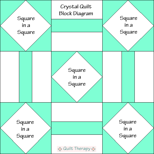 """Crystal Quilt Block Diagram is a Free Pattern for 12"""" finished quilt block at QuiltTherapy.com!"""