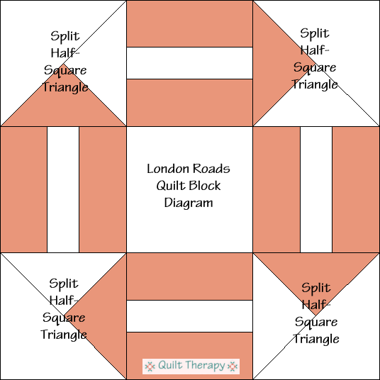 """London Roads Quilt Block Diagram is a Free Pattern for 12"""" finished quilt block at QuiltTherapy.com!"""