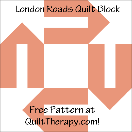 """London Roads Quilt Block is a Free Pattern for a 12"""" quilt block at QuiltTherapy.com!"""