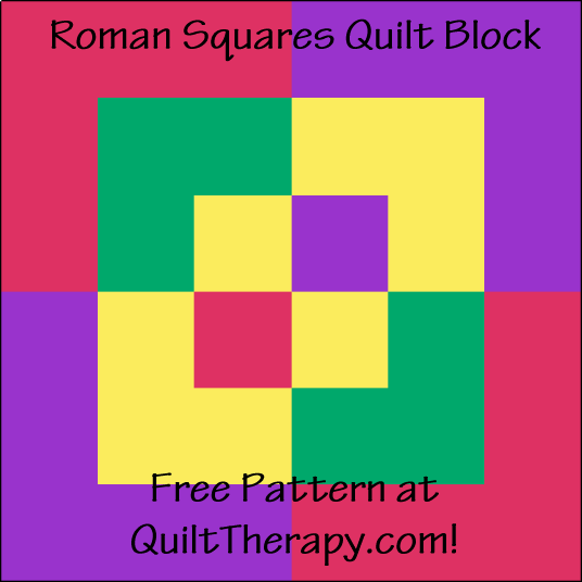 """Roman Squares Quilt Block is a Free Pattern for a 12"""" quilt block at QuiltTherapy.com!"""