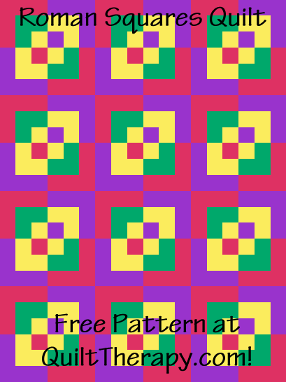 """Roman Squares Quilt is a Free Pattern for a 36"""" x 48"""" quilt at QuiltTherapy.com!"""