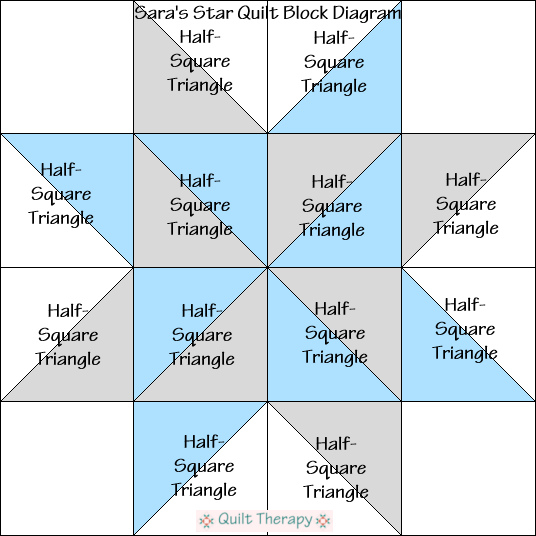 """Sara's Star Quilt Block Diagram is a Free Pattern for 12"""" finished quilt block at QuiltTherapy.com!"""
