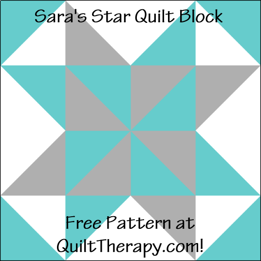 """Sara's Star Variation Quilt Block is a Free Pattern for a 12"""" quilt block at QuiltTherapy.com!"""