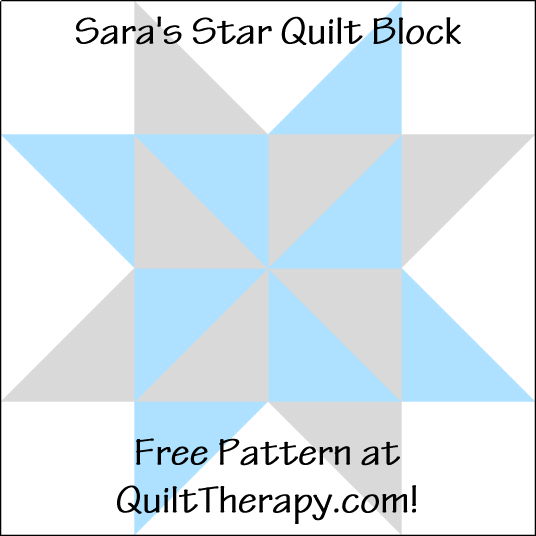 """Sara's Star Quilt Block is a Free Pattern for a 12"""" quilt block at QuiltTherapy.com!"""