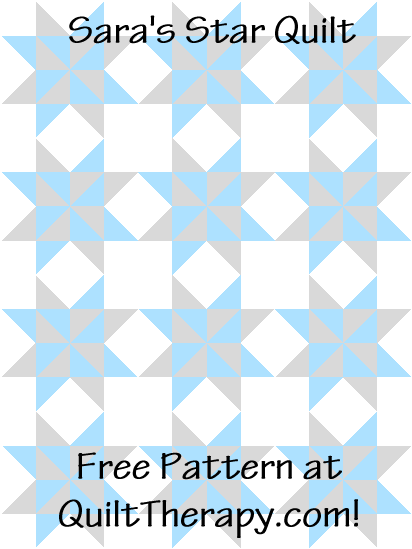 """Sara's Star is a Free Pattern for a 36"""" x 48"""" quilt at QuiltTherapy.com!"""