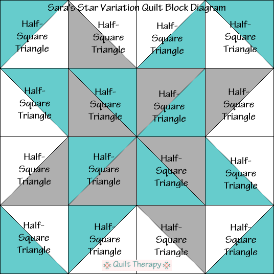 """Sara's Star Variation Quilt Block Diagram is a Free Pattern for 12"""" finished quilt block at QuiltTherapy.com!"""