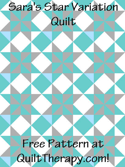 """Sara's Star Variation is a Free Pattern for a 36"""" x 48"""" quilt at QuiltTherapy.com!"""