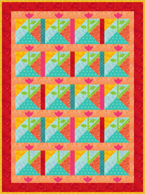 """""""Summertime"""" is a free July 2021 quilt pattern to members of Quilt Dash! It's designed by Phyllis Dobbs!"""