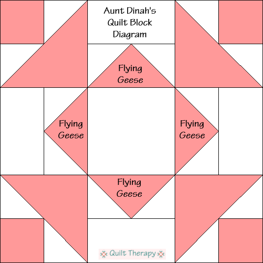 """Aunt Dinah's Quilt Block Diagram is a Free Pattern for 12"""" finished quilt block at QuiltTherapy.com!"""