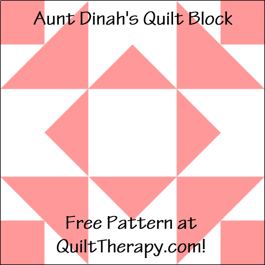 """Aunt Dinah's Quilt Block is a Free Pattern for a 12"""" quilt block at QuiltTherapy.com!"""