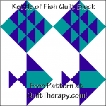 """Kettle of Fish Quilt Block is a Free Pattern for a 12"""" quilt block at QuiltTherapy.com!"""