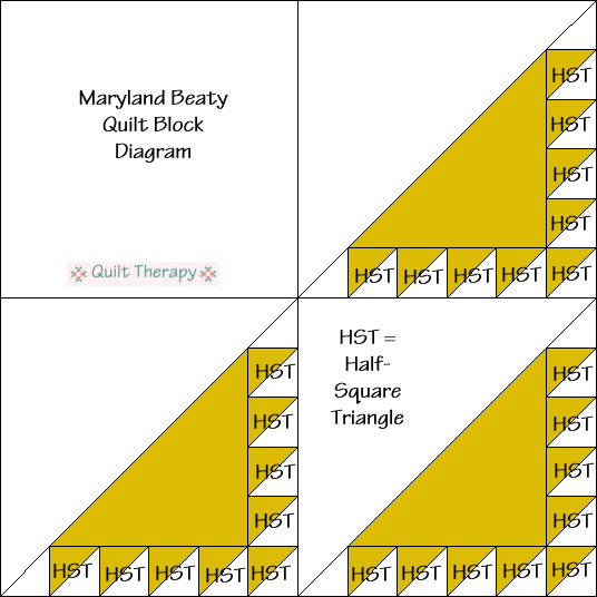 """Maryland Beauty Quilt Block Diagram is a Free Pattern for 12"""" finished quilt block at QuiltTherapy.com!"""