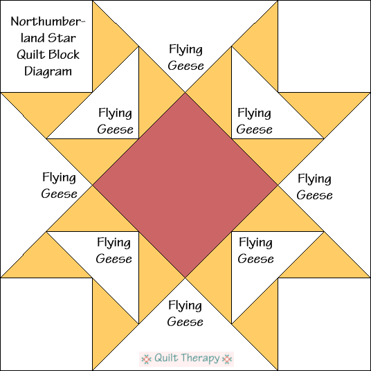 """Northumberland Star Quilt Block Diagram is a Free Pattern for 12"""" finished quilt block at QuiltTherapy.com!"""