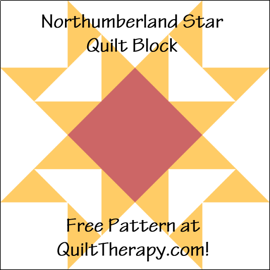 """Northumberland Star Quilt Block is a Free Pattern for a 12"""" quilt block at QuiltTherapy.com!"""