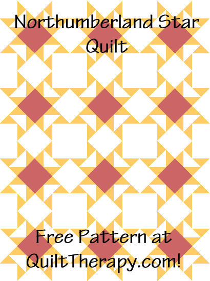 """Northumberland Star Quilt is a Free Pattern for a 36"""" x 48"""" quilt at QuiltTherapy.com!"""
