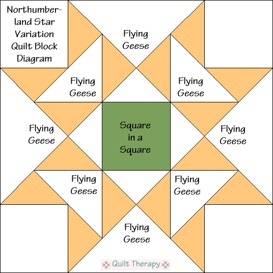 """Northumberland Star Variation Quilt Block Diagram is a Free Pattern for 12"""" finished quilt block at QuiltTherapy.com!"""