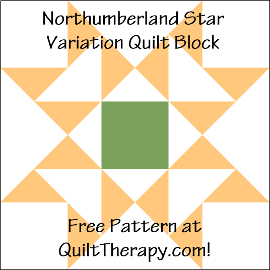 """Northumberland Star Variation Quilt Block is a Free Pattern for a 12"""" quilt block at QuiltTherapy.com!"""