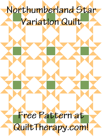 """Northumberland Star Variation Quilt is a Free Pattern for a 36"""" x 48"""" quilt at QuiltTherapy.com!"""