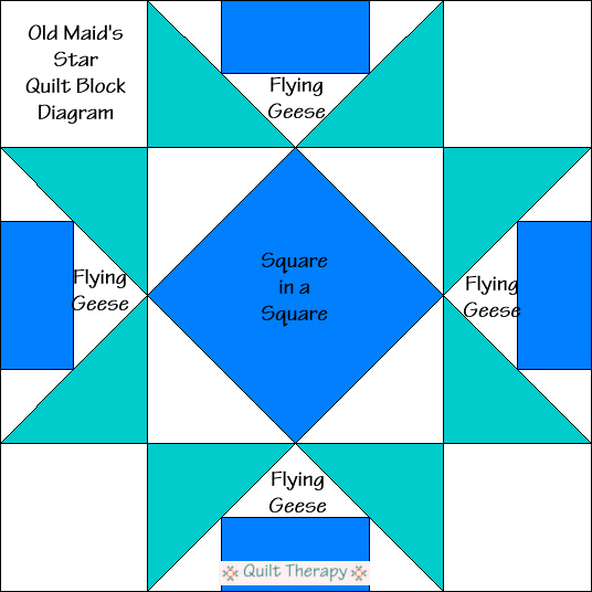 """Old Maid's Star Quilt Block Diagram is a Free Pattern for 12"""" finished quilt block at QuiltTherapy.com!"""