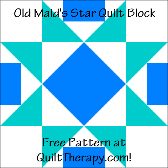 """Old Maid's Star Quilt Block is a Free Pattern for a 12"""" quilt block at QuiltTherapy.com!"""