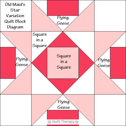 """Old Maid's Star Variation Quilt Block Diagram is a Free Pattern for 12"""" finished quilt block at QuiltTherapy.com!"""
