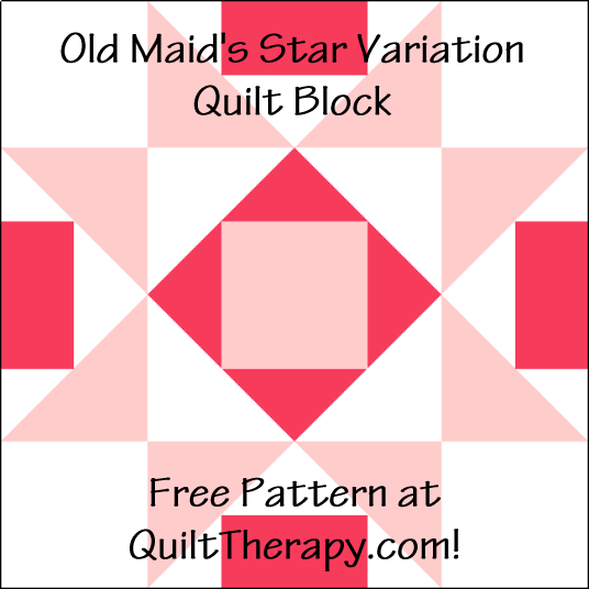 """Old Maid's Star Variation Quilt Block is a Free Pattern for a 12"""" quilt block at QuiltTherapy.com!"""