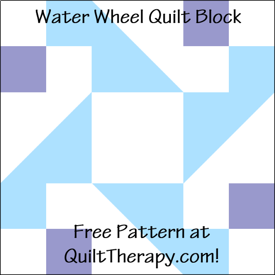"""Water Wheel Quilt Block is a Free Pattern for a 12"""" quilt block at QuiltTherapy.com!"""
