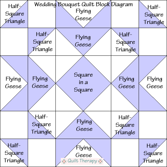 """Wedding Bouquet Quilt Block Diagram is a Free Pattern for 12"""" finished quilt block at QuiltTherapy.com!"""