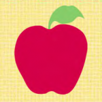 """Back to School Apple Appliqué Quilt Block is a Free Pattern for a 10"""" quilt block at QuiltDash.com!"""