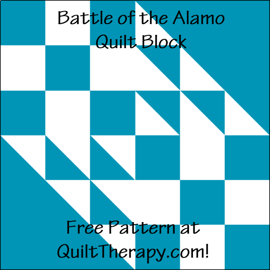 """Battle of the Alamo Quilt Block is a Free Pattern for a 12"""" quilt block at QuiltTherapy.com!"""