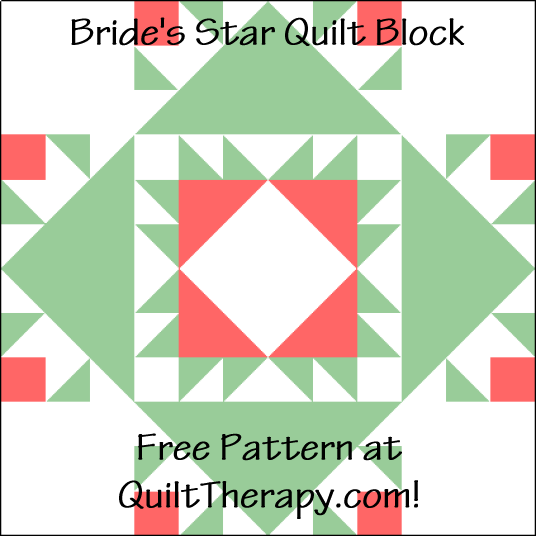 """Bride's Star Quilt Block is a Free Pattern for a 12"""" quilt block at QuiltTherapy.com!"""