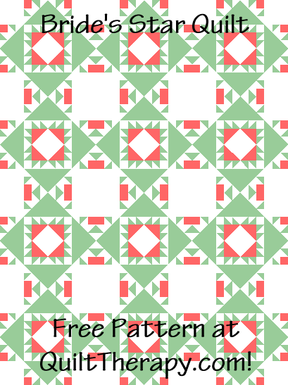 """Bride's Star Quilt is a Free Pattern for a 36"""" x 48"""" quilt at QuiltTherapy.com!"""