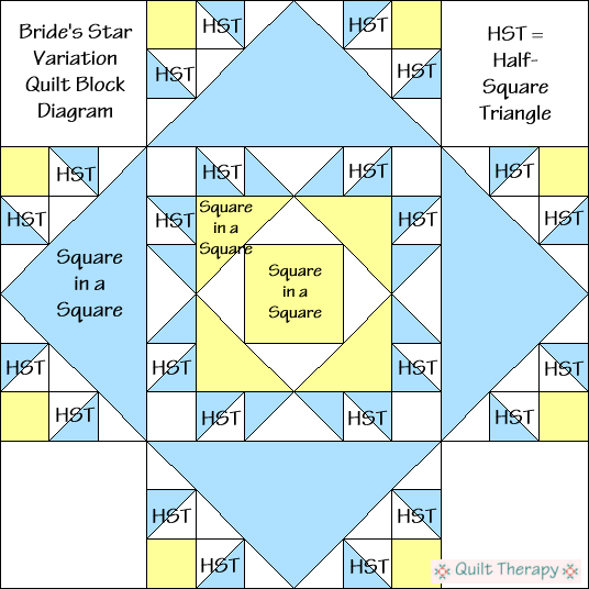 """Bride's Star Variation Quilt Block Diagram is a Free Pattern for 12"""" finished quilt block at QuiltTherapy.com!"""