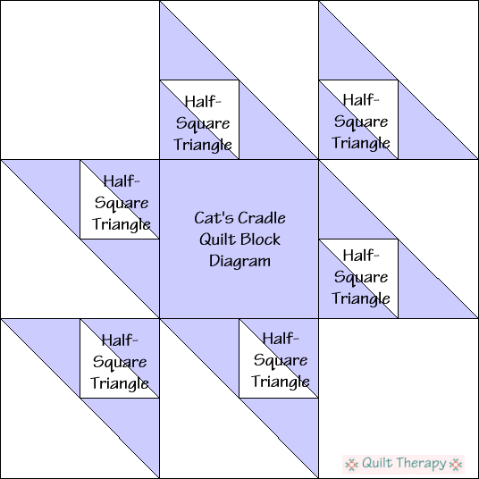 """Cat's Cradle Quilt Block Diagram is a Free Pattern for 12"""" finished quilt block at QuiltTherapy.com!"""