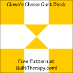 """Clown's Choice Quilt Block is a Free Pattern for a 12"""" quilt block at QuiltTherapy.com!"""