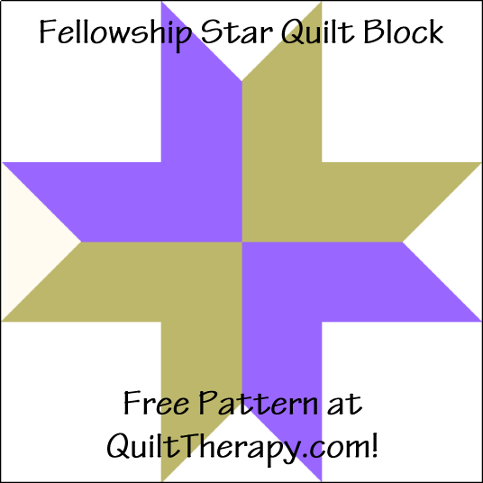 """Fellowship Star Quilt Block is a Free Pattern for a 12"""" quilt block at QuiltTherapy.com!"""